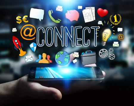 mobile: Businessman on blurred background using modern manuscript network text