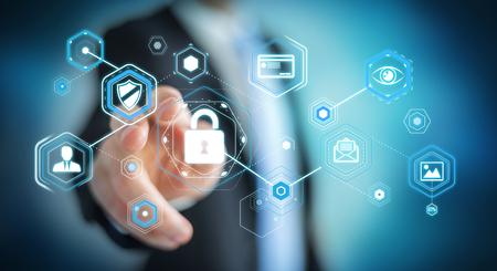Geschäftsmann auf unscharfen Hintergrund mit Antivirus zu blockieren ein Cyber-Angriff 3D-Rendering Standard-Bild - 78928315