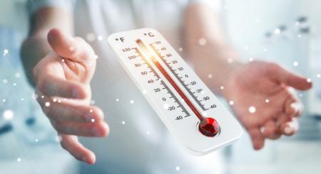 温度計 3 D レンダリングで上昇する温度をチェック ビジネスマン 写真素材