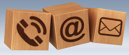 Digital wooden cube contact icon 3D rendering on grey background