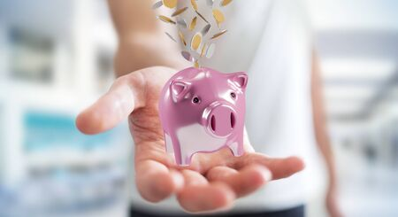 man flying: Businessman on blurred background holding piggy bank with flying coins going inside 3D rendering