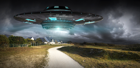 Metal and silver UFO invasion on planet earth landascape 3D rendering Stock fotó - 78928406