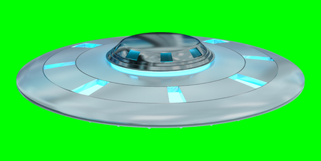 invader: Metal and silver vintage UFO isolated on green background 3D rendering