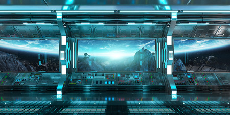 Spaceship interior with view on space and planet Earth 3D rendering