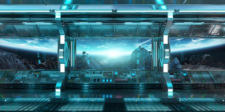 Ruimteschipbinnenland met mening over ruimte en aarde het 3D teruggeven