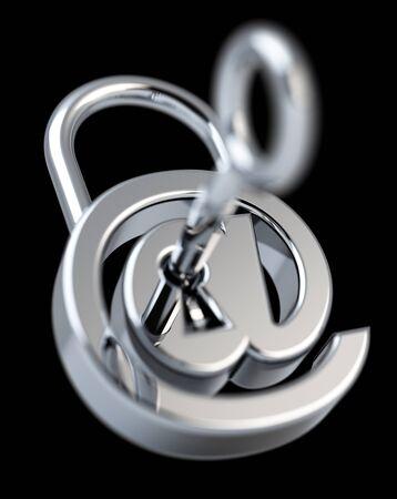 Digital arobase padlock 3D rendering on black background