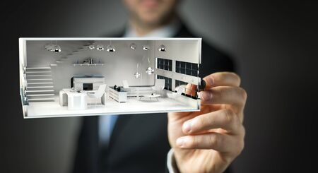 apartment: Businessman on blurred background drawing white 3D rendering apartment plan