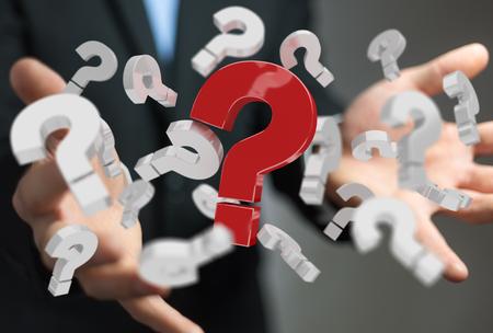 Homme d'affaires en fond flou en utilisant des signes d'interrogation en 3D Banque d'images - 78928687