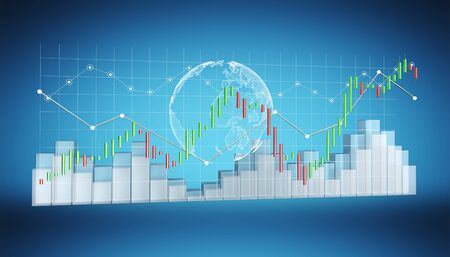 Digital 3D rendered stock exchange stats and charts on blue background