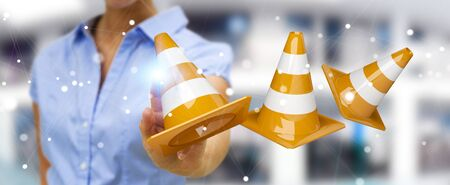 Businesswoman on blurred background using digital 3D rendering under construction signs