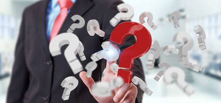 Businessman on blurred background using 3D rendering question marks