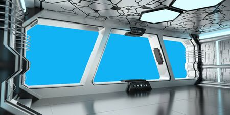 futuristic interior: Spaceship blue and white interior with blue window view 3D rendering