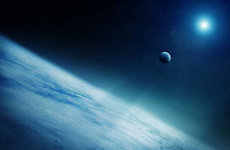 View of the moon close to planet Earth elements of this image furnished by NASA 3D rendering Stock Photo