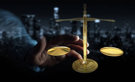 jurado: Businessman on blurred background with justice weighing scales 3D rendering