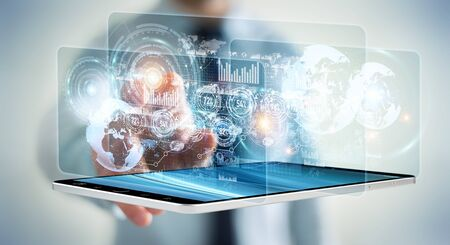 Hologram screen with digital datas used by businessman on blurred background 3D rendering