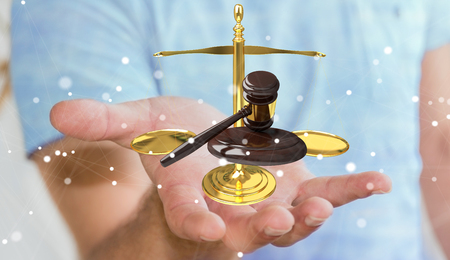 fingers: Businessman on blurred background with justice hammer and weighing scales 3D rendering
