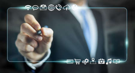 screen: Businessman using tactile interface web address bar to surf on internet 3D rendering Stock Photo
