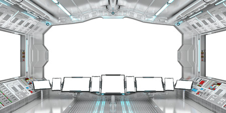 window view: Spaceship interior with view on white windows 3D rendering elements of this image furnished by NASA