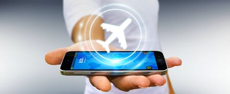 fingers: Businessman on blurred background booking his flight with modern digital application 3D rendering Stock Photo