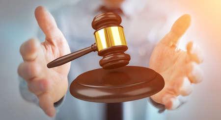 golden: Businessman on blurred background with justice hammer 3D rendering