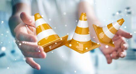 Businessman on blurred background using digital 3D rendering under construction signs