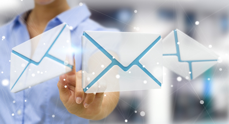 Businesswoman on blurred background touching 3D rendering flying email icon with her finger