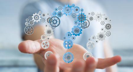 Businessman on blurred background holding question marks gear 3D rendering Stok Fotoğraf