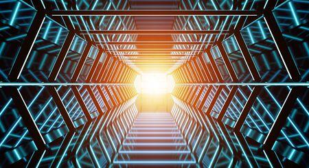 futuristic interior: Dark futuristic spaceship corridor with modern blue lights 3D rendering