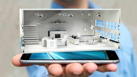 real: Businessman on blurred background holding white 3D rendering apartment over mobile phone