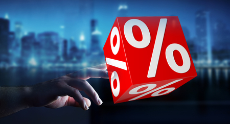percent: Businesswoman on blurred background using white and red sales flying icons 3D rendering