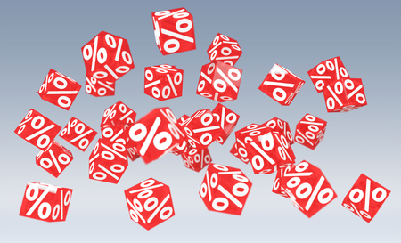 Sales icons floating in the air on grey background 3D rendering Reklamní fotografie
