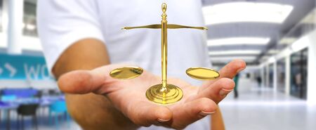 gold: Businessman on blurred background with justice weighing scales 3D rendering