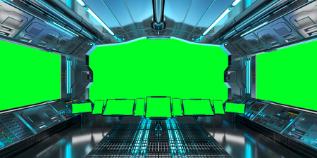 Spaceship interior with view on green windows 3D rendering elements of this image furnished by NASA 스톡 콘텐츠