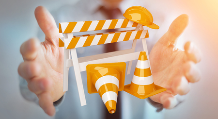 work: Businessman on blurred background using digital 3D rendering under construction signs