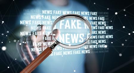 fake newspaper: Businessman on blurred background discovering fake news information 3D rendering