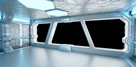 futuristic interior: Spaceship blue and white interior with black window view 3D rendering