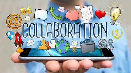 mobile: Businessman on blurred background using hand-drawn collaboration presentation