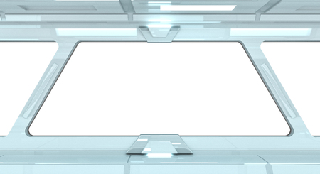 voyage: Spaceship white corridor with view on a white window 3D rendering