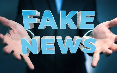 control fraud: Businessman on blurred background discovering fake news information 3D rendering