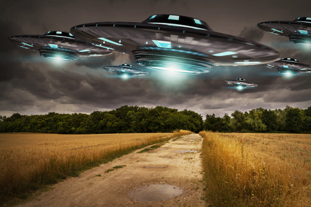 star: Metal and silver UFO invasion on planet earth landascape 3D rendering
