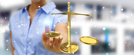 Businesswoman on blurred background with justice weighing scales 3D rendering