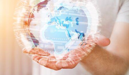 banco mundial: El hombre de negocios la celebración de intercambios en la red y de datos globales sobre la representación 3D del mundo