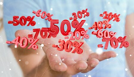 percent: Businessman on blurred background holding sales icons in his hand 3D rendering