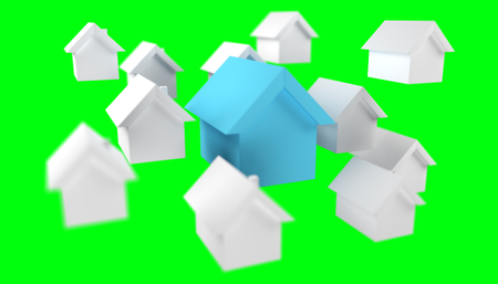 3D rendered small white and blue houses on green background