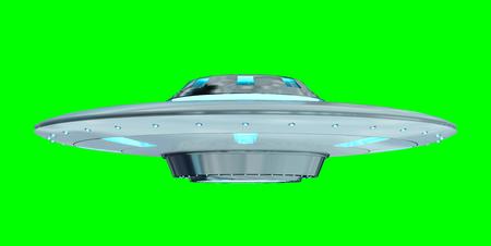 金属、銀ヴィンテージでは緑の背景 3 D レンダリングに分離された UFO