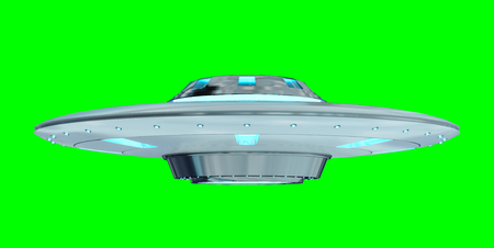 Metal and silver vintage UFO isolated on green background 3D rendering Reklamní fotografie - 80555077