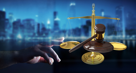 Businesswoman on blurred background with justice hammer and weighing scales 3D rendering Stock Photo