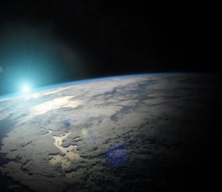 view: View of the planet Earth from space during a sunrise 3D rendering Stock Photo