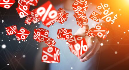 percent: Businessman on blurred background using white and red sales flying icons 3D rendering Stock Photo