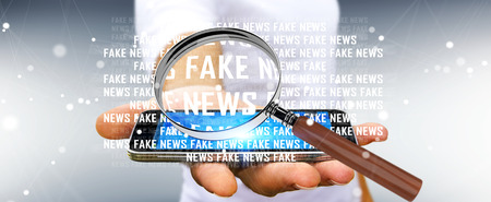Businessman on blurred background discovering fake news information 3D rendering